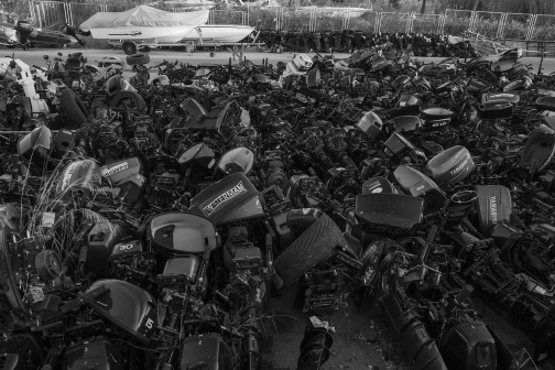 Discarded outboard engines from the refugee boats,Lesvos !