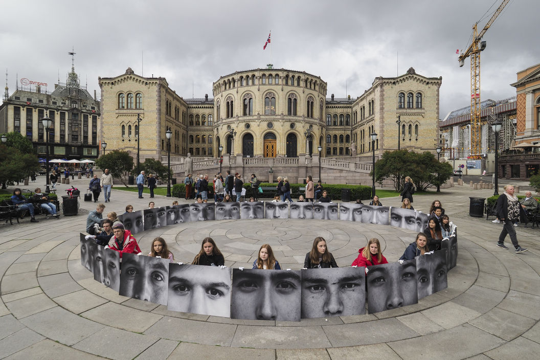 """ Efghan Eyes "" My exhibit/parole in front of Norway's parliament"